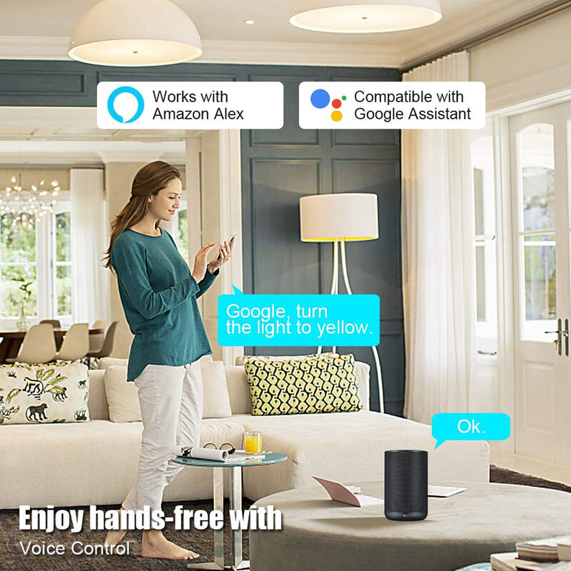 15W WiFi 똑똑한 전구 B22 E27 LED RGB 빛 램프 일 Alexa Google 가정 RGB + Dimmable 원격 제어 Colore 빛 마술 전구