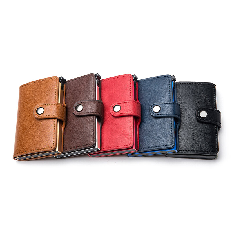 BISI GORO Casual Card Holder Hasp Protector Smart Card Case Metal RFID Aluminum Box Slim Men and Women ID Holder PU Leather