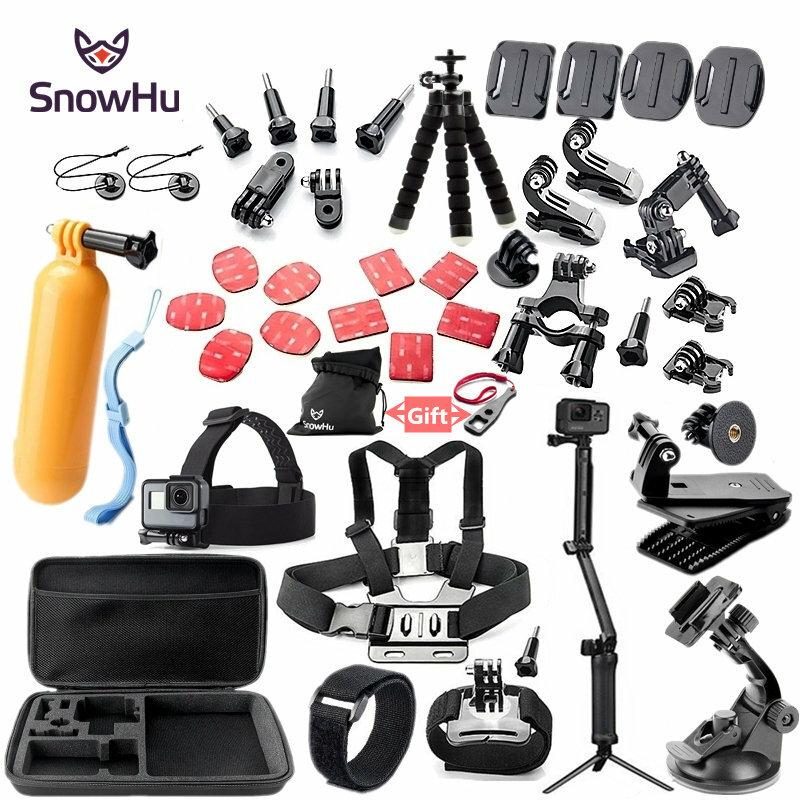 SnowHu-مجموعة ملحقات لـ GoPro ، Go Pro Hero 9 8 7 6 5 4 ، حامل أسود للحقيبة Yi 4k Mijia ، Sjcam Action Camera GS52
