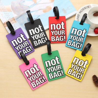Luggage Tags Letter Print Travel Accessories Suitcase Cartoon Style Fashion Silicon Portable Travel Label Name Card Tags
