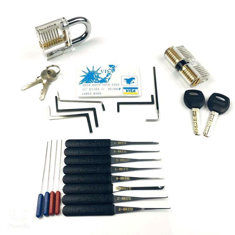 Schlosser Werkzeug Dietrich Set Gebrochen Key Extractor mit Transparent Schlösser Für Pro Schlosser Ausbildung und Üben Fähigkeiten
