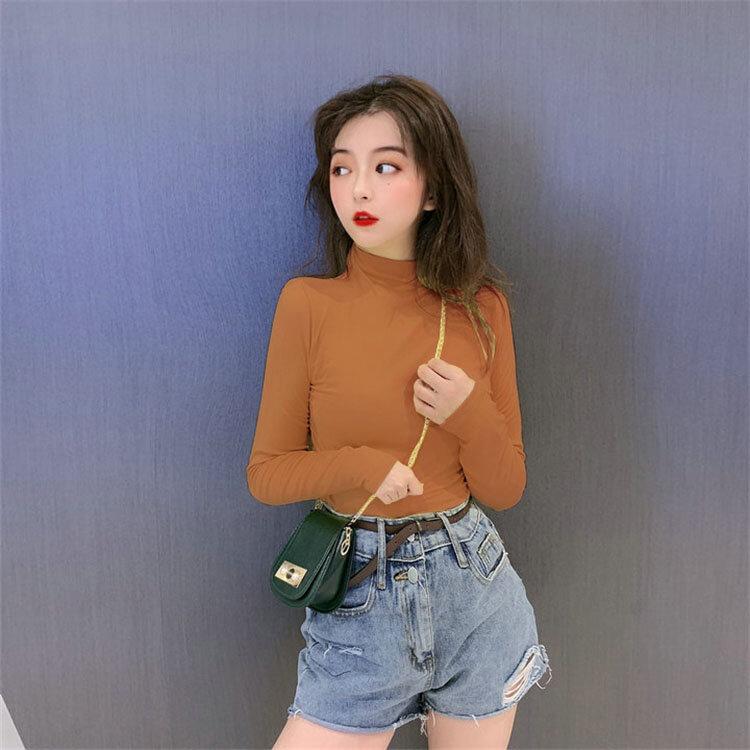 Half Turtleneck Bottoming Shirt Female Online Influencer Spring and Autumn Hong Kong Style Ins Versatile Long Sleeve T-shirt