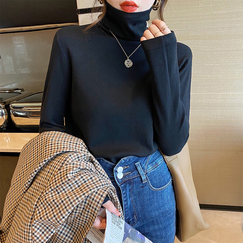 White High Collar Bottoming Shirt Women's Popular New Autumn and Winter Long Sleeve Heaps Collar Sweater Western Style