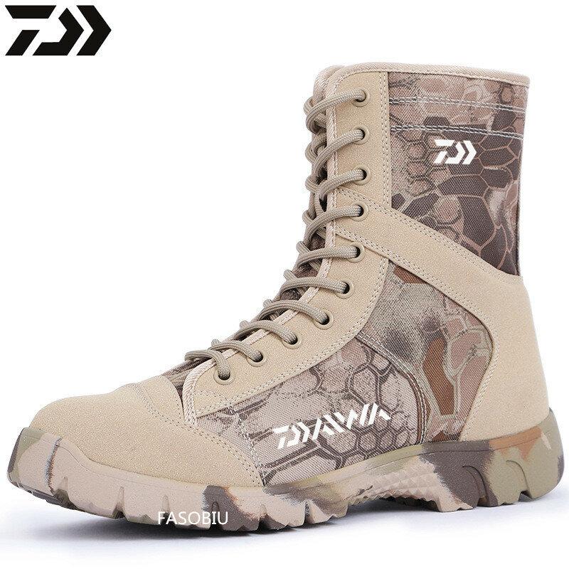 2021 Daiwa ฤดูหนาวกลางแจ้งรองเท้าตกปลา Boot สูงหนัง Combat รองเท้ากันน้ำลื่นสวมใส่ตกปลาเดินป่ารองเท้าผ...