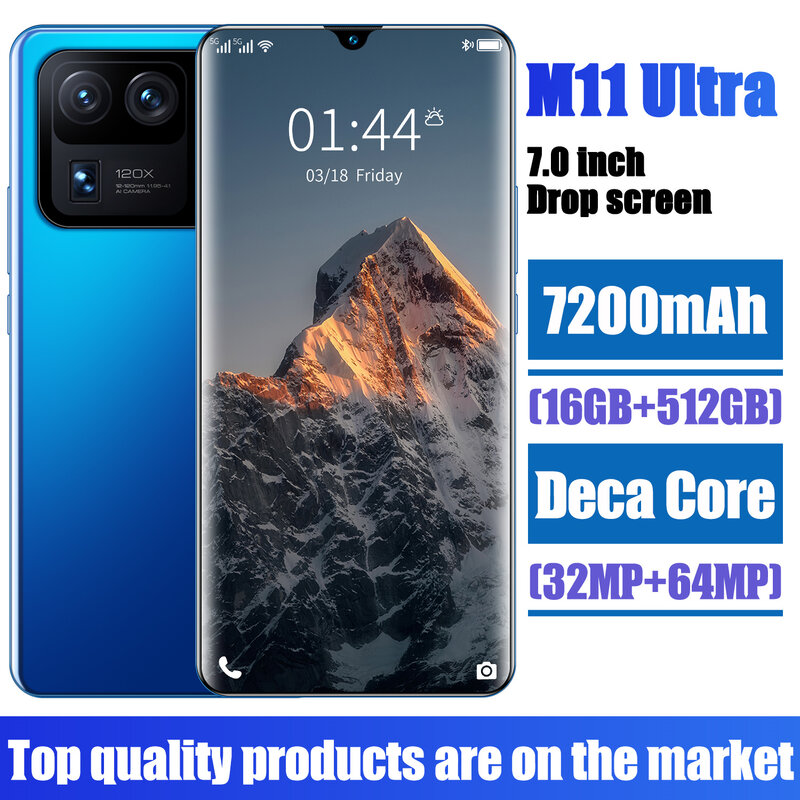 2021 New Smartpone M11 Ultra Global Version Smartphonr 16G 512G Android10 7200mAh Snapdragon 888 Face ID Mobile Phone