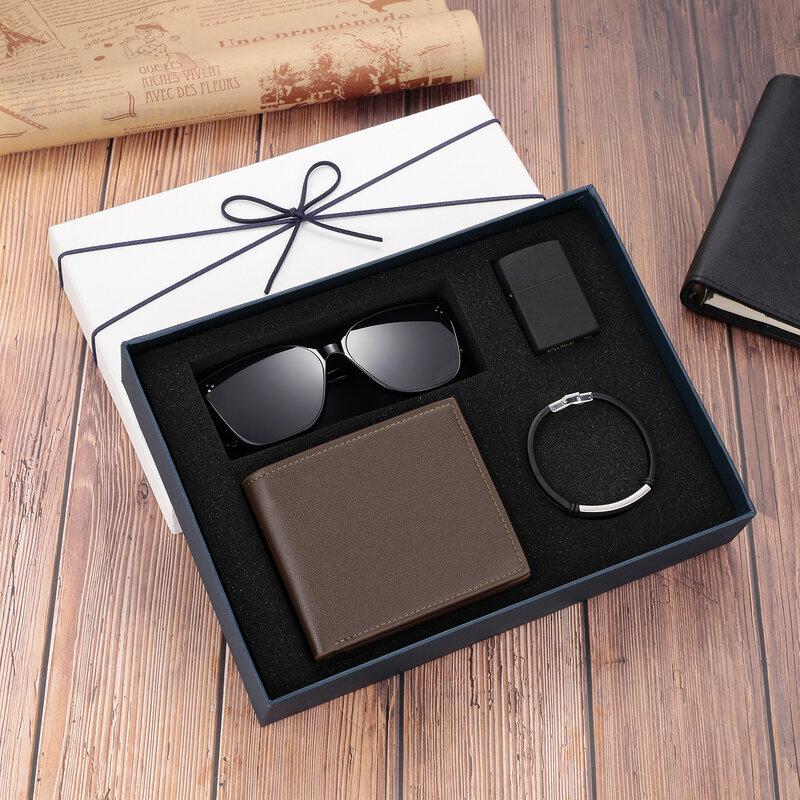 네 조각 선물 세트 PU 가죽 지갑 선글라스 라이터 사용자 정의 로고 또는 이름 남성 팔찌 사용자 정의 남성 선물 상자