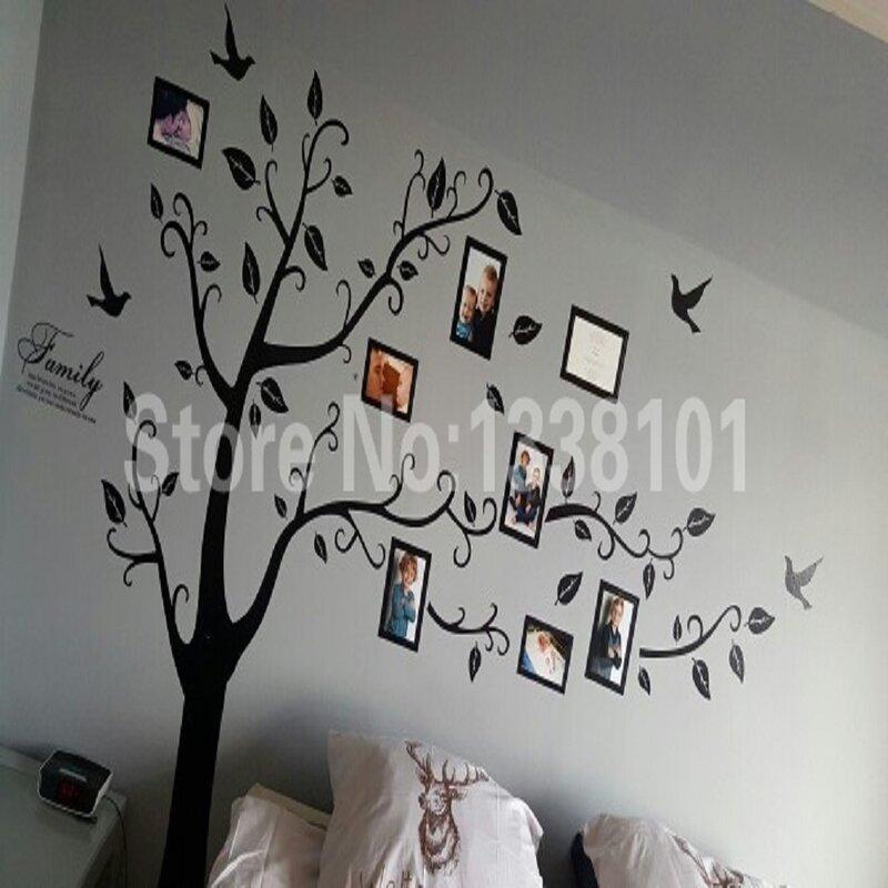 Pegatinas de pared para decoración del hogar, adhesivos de material de PVC de tamaño de 200x250 cm/79x99 pulgadas, en negro 3D, para árbol de fotos familiar de bricolaje