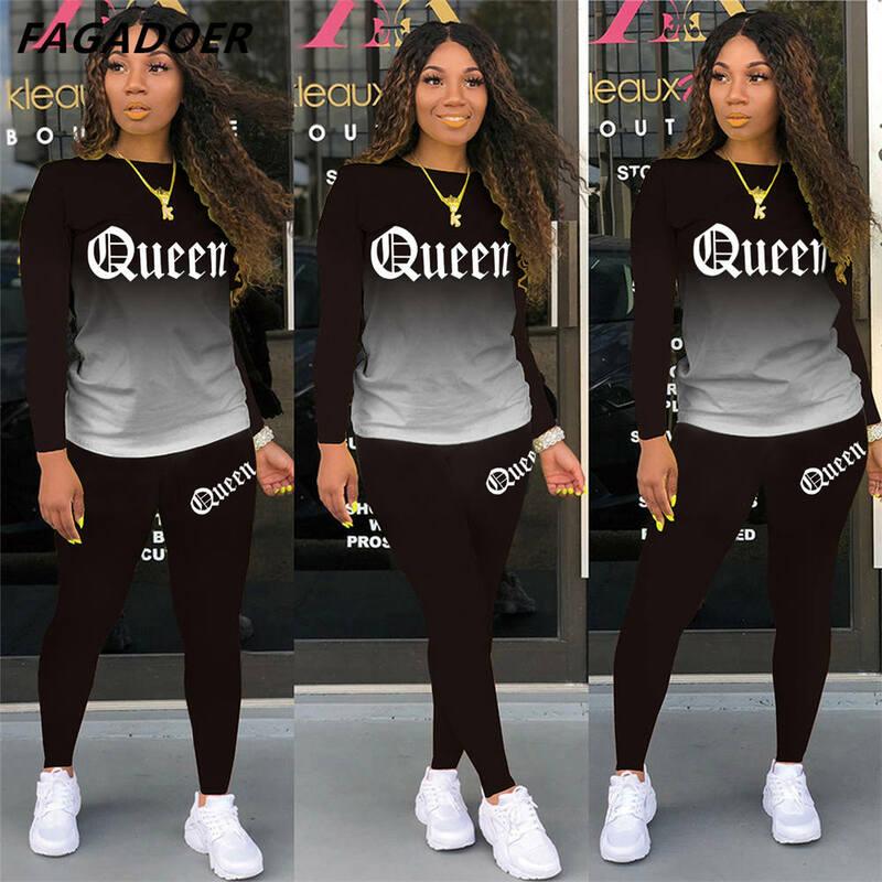 Sportowy dwuczęściowy zestaw FAGADOER królowa list drukuj dres Casual Gradient z długim rękawem topy + legginsy stroje 2021 Street