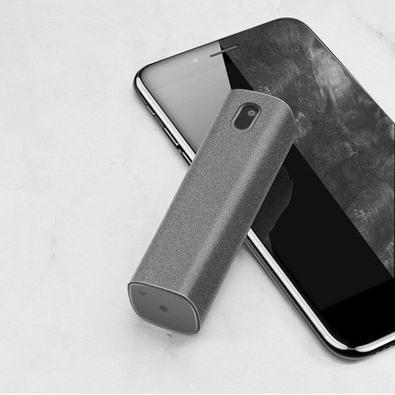 2 In 1 휴대폰 스크린 클리너 스프레이 컴퓨터 화면 먼지 제거 마이크로 화이버 천 세트 액체 청소하지 않고 인공물 청소