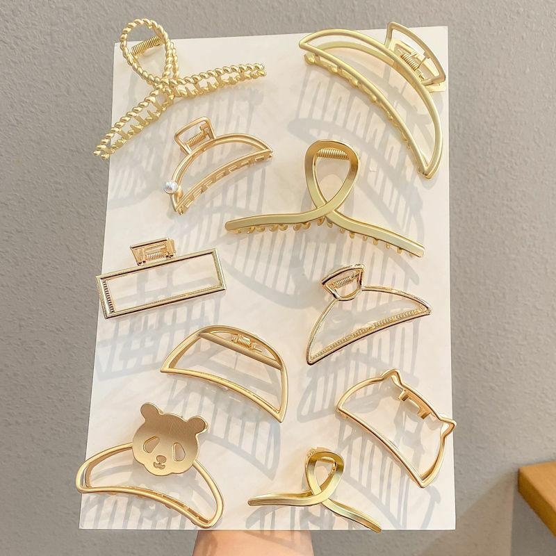 FFLACELL-pasadores con diseño geométrico de oro brillante para mujer y niña, pasadores de Metal de concha de huevo, Color plateado, para fiesta, 2020