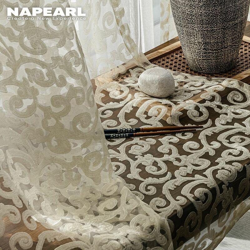 NAPEARL-cortina de tul de estilo europeo con diseño de jacquard, Decoración del hogar, panel transparente, blanco