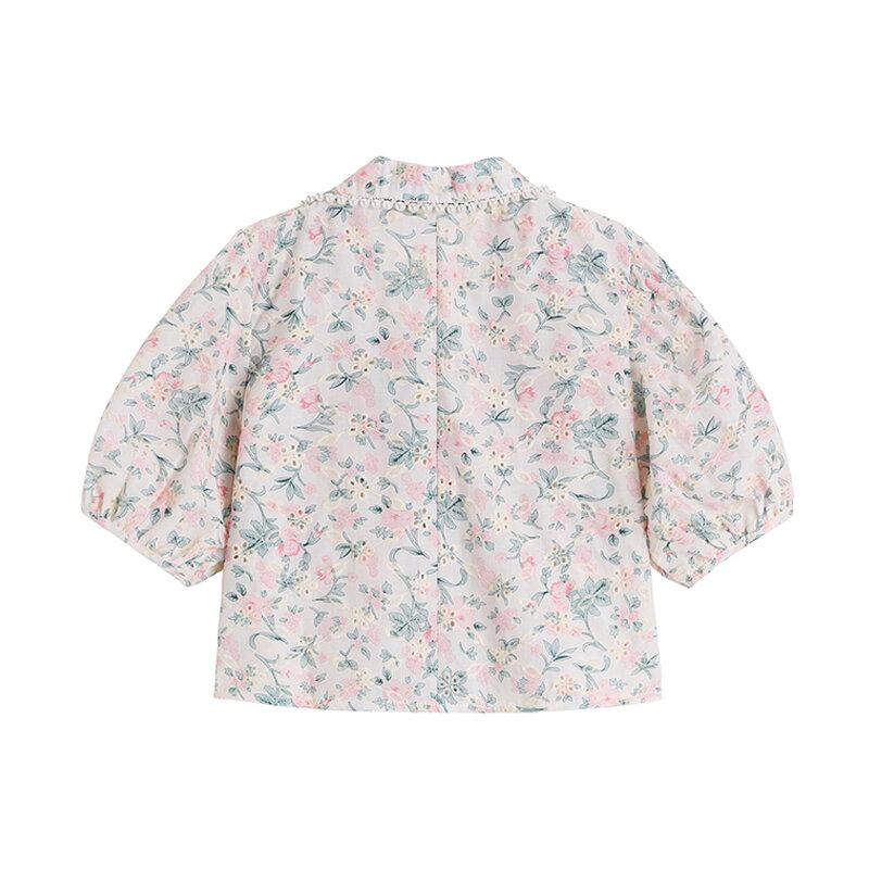 Blusa holgada informal con manga abombada y solapa para verano, camisa elegante estilo francés con cuello en V para mujer, 2021