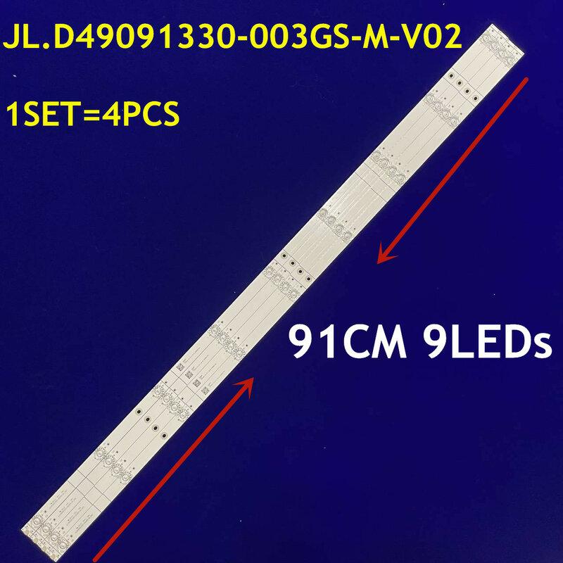 1Set = 4PCS LED 백라이트 스트립 9 램프 JL.D49091330-003GS-M-V02 1187918 HZ49A65 용