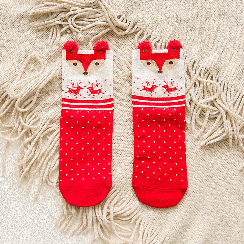 Damskie skarpety świąteczne jesienne i zimowe czerwone 3D cartoon skarpety świąteczne piękne japońskie łosia damskie środkowe podkolanówki WZ006