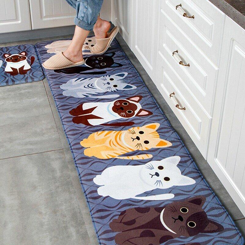 Kawaii-tapis de sol bienvenue, pour chats animaux, de cuisine, de salle de bain, tapis de sol antidérapant, pour le salon