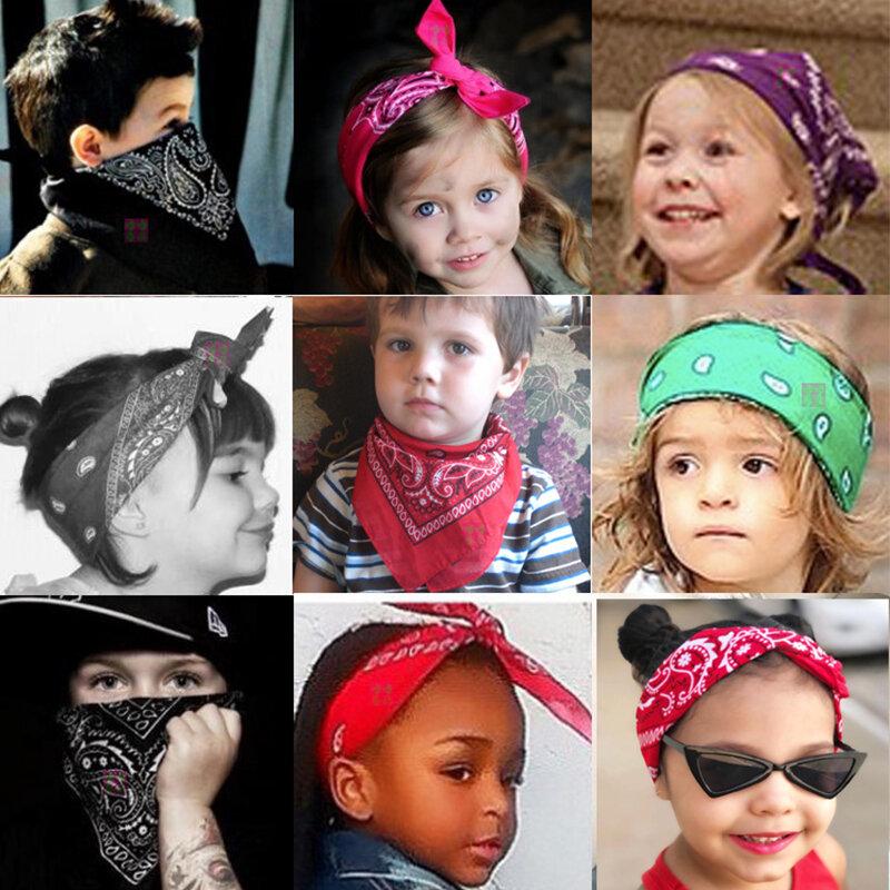 Bandana de dibujo bohemio para niña y mujer, pañuelo cuadrado Unisex, turbante, accesorios para el cabello