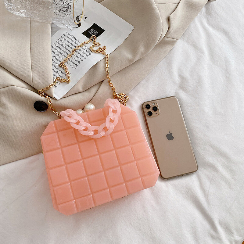 Acrylic Clear Purses and Handbags for Women Fashion Box Chain Shoulder Crossbody Bags Plaid Buckle Party Clutch Messenger Bag