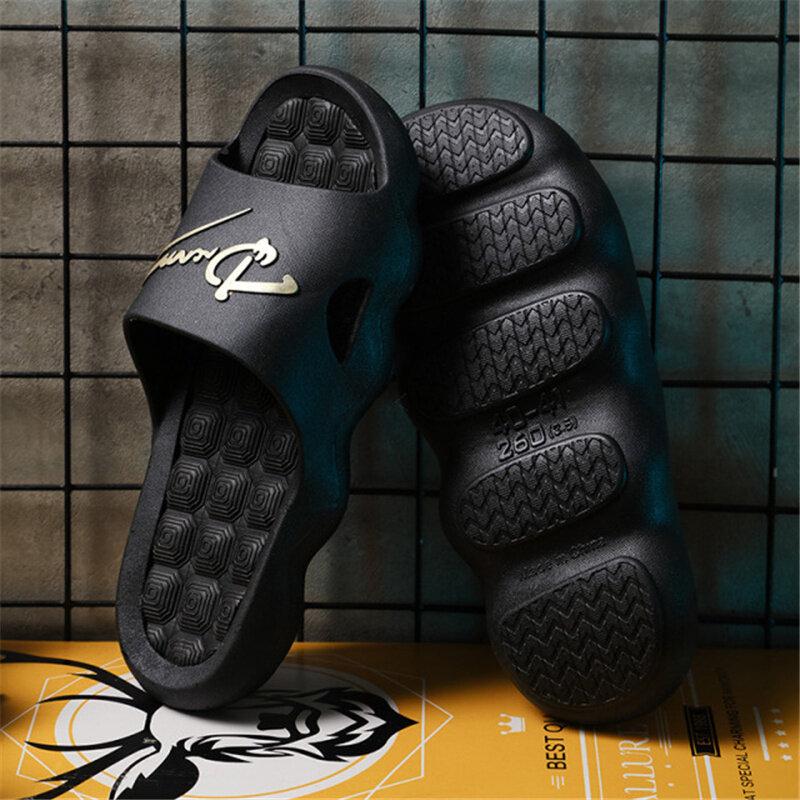 Tongs de salle de bain antidérapantes d'été 2021, pantoufles unisexes à plate-forme pour Couples, pantoufles de maison pour hommes, chaussures simples de couleur unie