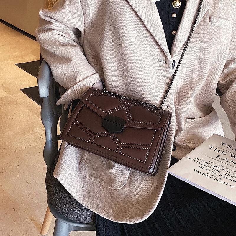 ATLI Rivet Chain Brand Small Designer Crossbody Bags For Women 2021  PU Leather Simple Fashion Shoulder Bag Lady Luxury Handbags