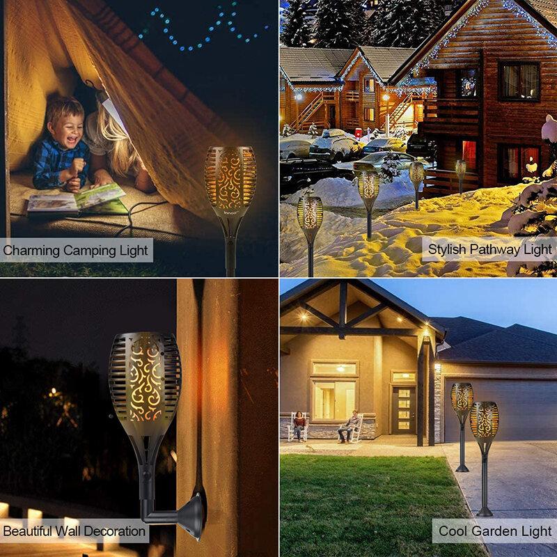 야외 96LED 깜빡이는 불꽃 태양 토치 빛 방수 정원 장식 풍경 잔디 램프 태양 Led 빛 야외