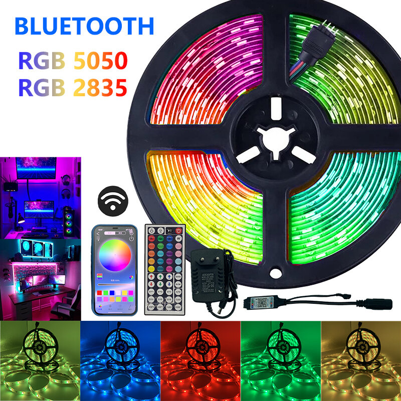 Tira de Luces Led SMD 5050 RGB, 2835 Luces, IR, Bluetooth, WIFI, Control, DC12V, cinta de diodos flexibles para decoración del hogar