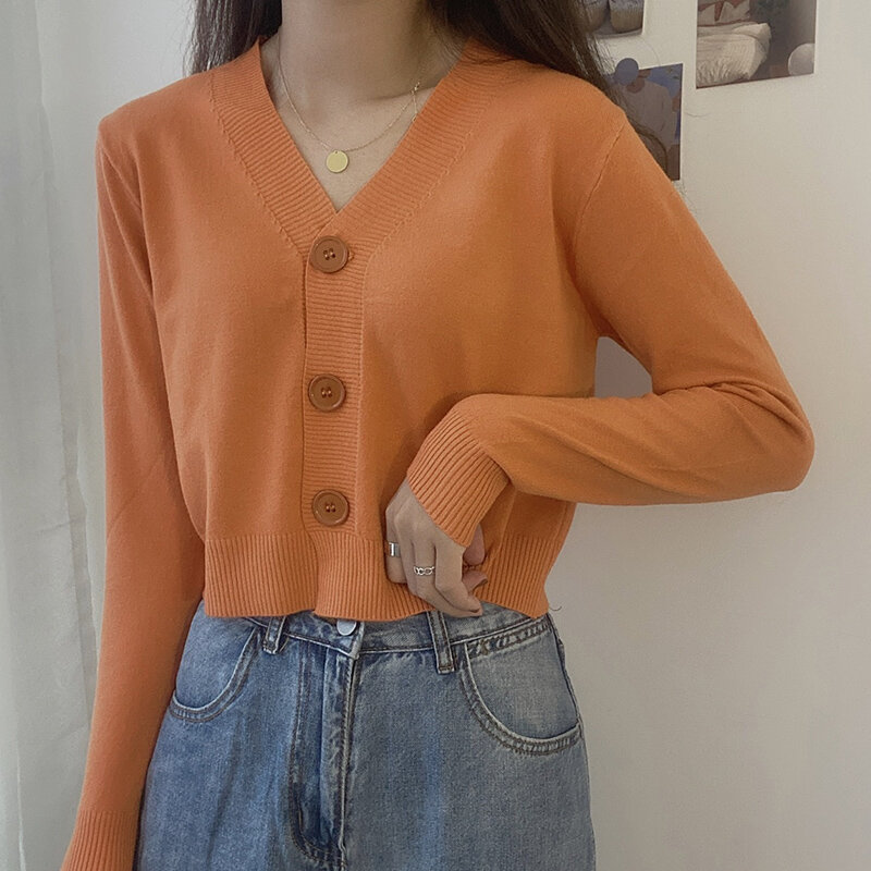 V-neck Knitted Cardigan Coat Women's Spring 2021 New Lazy Wind Sweater Loose Slimming Long Sleeves Short Top