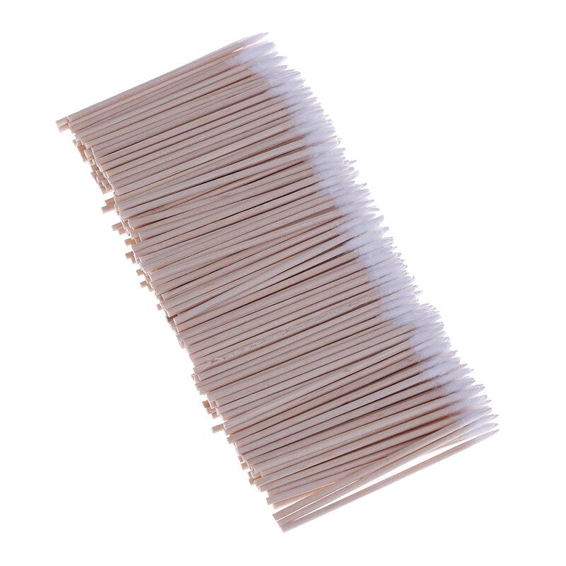 300pcs/100pcs 나무 손잡이 면봉 미니 팁 헤드 면봉 눈썹 문신 메이크업 컬러 네일 솔기 전용 더러운 따기