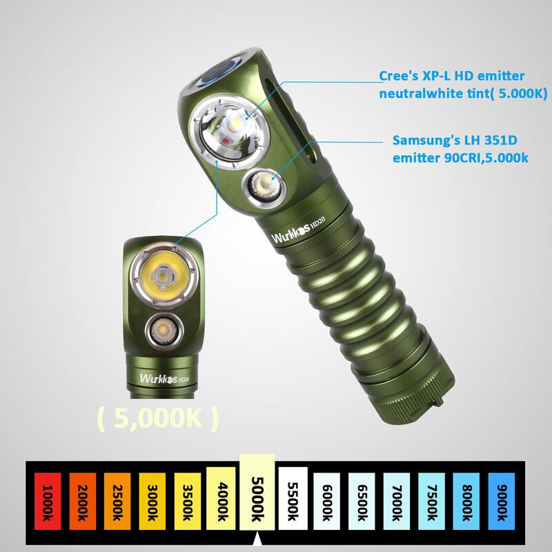 새로운 색상 Wurkkos HD20 헤드 램프 2000lm 듀얼 LH351D 5000K USB-C 충전식 헤드 라이트 (마그네틱 테일 캡 포함)