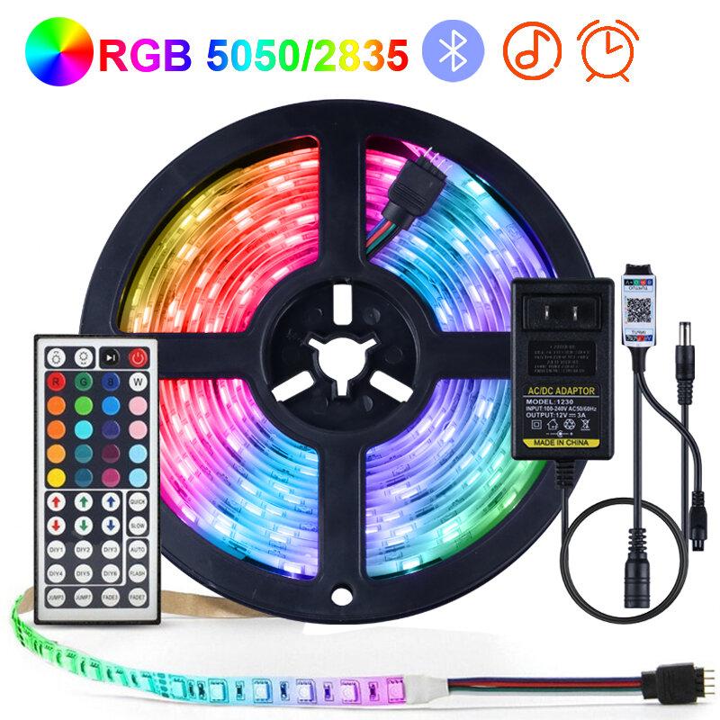 Tira de luces LED RGB 5050 2835, cinta Flexible de diodos IR/Bluetooth, control de retroiluminación de TV, lámpara de decoración para dormitorio interior