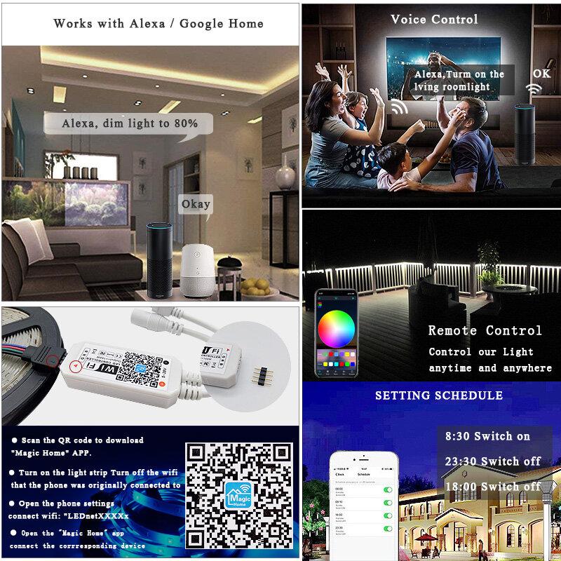 5m 10m 15m RGBW tira de LED RGBWW luz RGB 5050 60Led Luces LED tira de luz DC12V cinta Flexible IR WiFi Contoller + adaptador de la UE