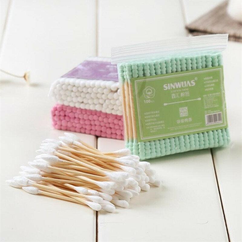 100 stücke Neue Mode Doppel Kopf Baumwolle Tupfer Make-Up Baumwolle Knospen Tipp Für Medizinische Holz Sticks Nase Ohren Reinigung Gesundheit pflege Werkzeuge