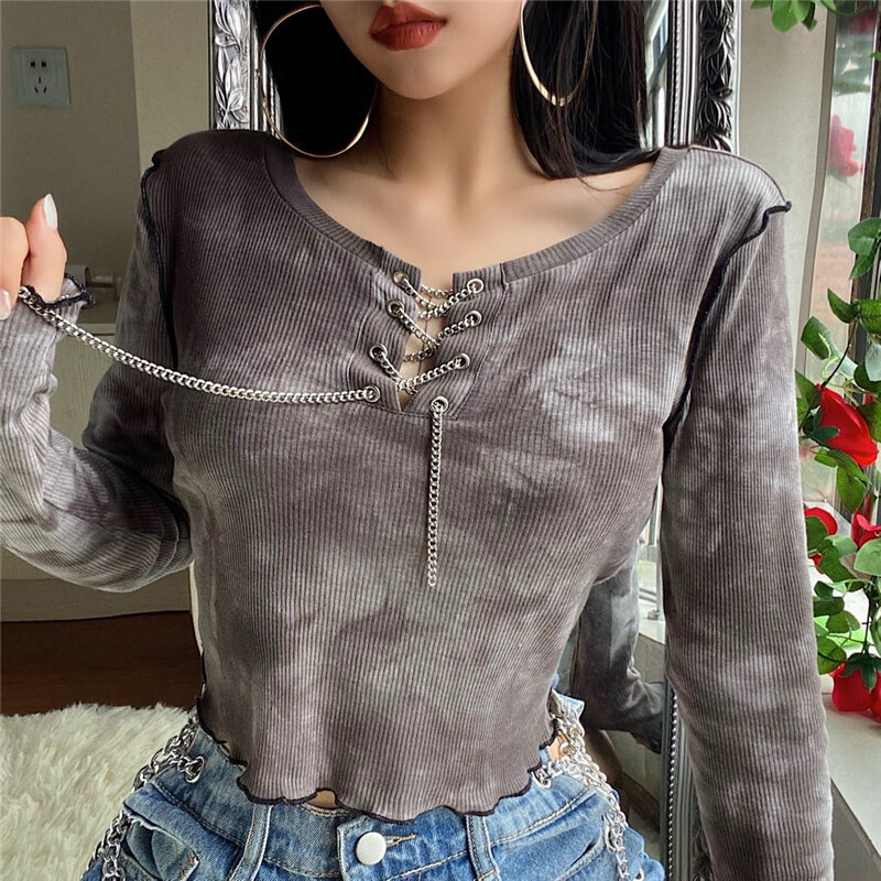 Gagaopt Homemade New Long-Sleeved on Bare-Tie-Dye Sweet Cool Top Female Crew Neck Chain Bandage Cloth Wavy T-shirt