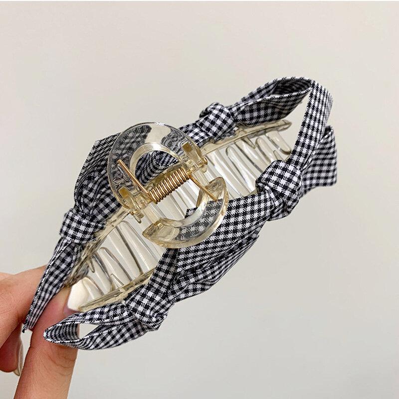 Kẻ Sọc Nơ Móng Vuốt Kẹp Cho Nữ Size Lớn Acrylic Vuốt Tóc Kẹp Hàn Quốc Barrettes Tóc Kẹp Tóc Phụ Kiện