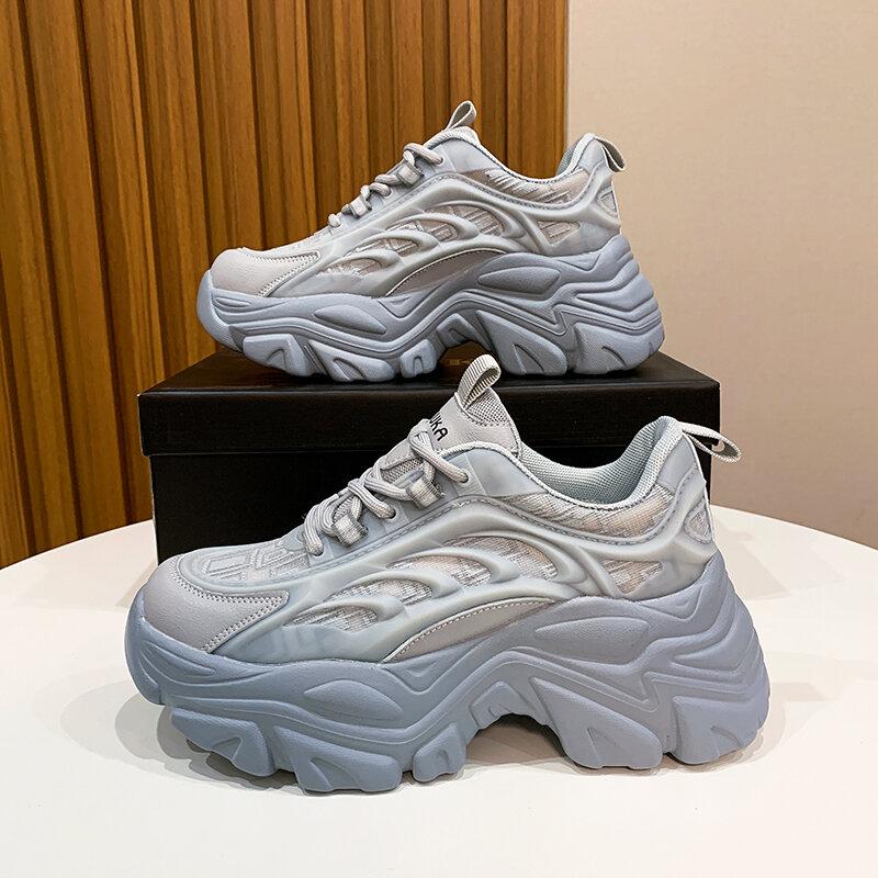 Zapatillas de deporte con plataforma para Mujer, zapatos deportivos vulcanizados de suela gruesa a la moda, 2021