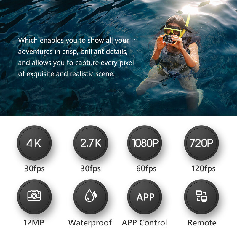 EKEN H9R H9 Action Camera Ultra HD 4K 30fps WiFi 2.0 pollici 170D casco subacqueo impermeabile videocamere videocamere Sport Cam