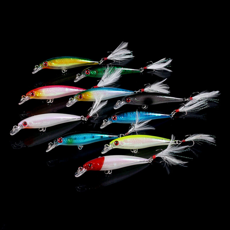 10Pcs Fishing Lure Minnow Wobblersเหยื่อHardกับเบ็ดFeather Hooks Fishing Tackle 7.2G 9CM Iscaเหยื่อประดิษฐ์crankbait Swimbait