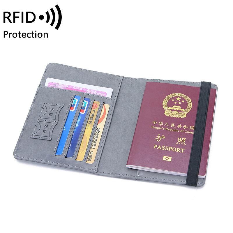 Tarjetero de cuero PU con bloqueo RFID para hombre y mujer, funda para pasaporte de negocios, tarjetero de identificación, accesorios de viaje, billetera