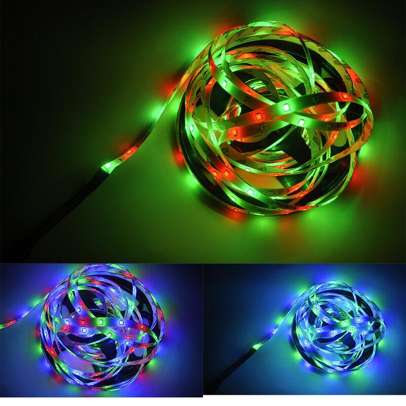 Tiras de luces LED RGB 2835 DC 12V 7,5 M, enchufe europeo, diodo remoto infrarrojo, decoración de fondo Flexible, mando a distancia + adaptador