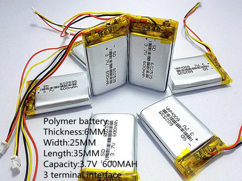 بطاريات جديدة 2020 بطارية ليثيوم بوليمر 3.7 فولت ، 600 602535 يمكن تخصيصها بالجملة CE FCC بنفايات شهادة الجودة