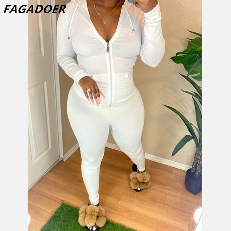 FAGADOER Gợi Cảm Skinny Tracksuits Màu Trơn Nữ 2 Bộ Áo Khoác Bodycon Trang Phục Túi Zip V Cổ Áo Khoác + Quần Legging phù Hợp Với