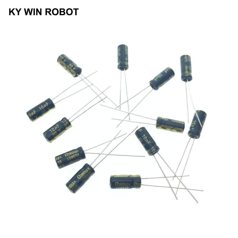 50 개/몫 10 미크로포맷 50V 10mf 105C 5X11mm 알루미늄 전해 커패시터 50V10UF 방사형 리드 50pcs