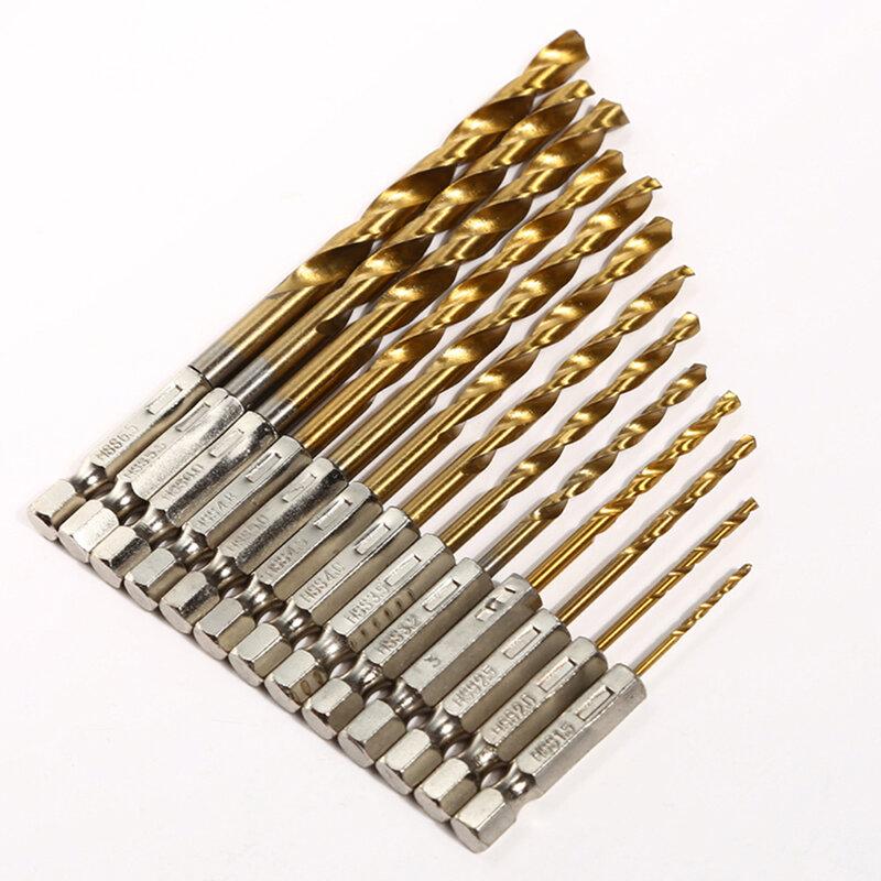 13 개 HSS 드릴 비트 세트 고속 강철 티타늄 코팅 드릴 비트 1/4 육각 생크 1.5-6.5mm 육각 핸들 트위스트 드릴