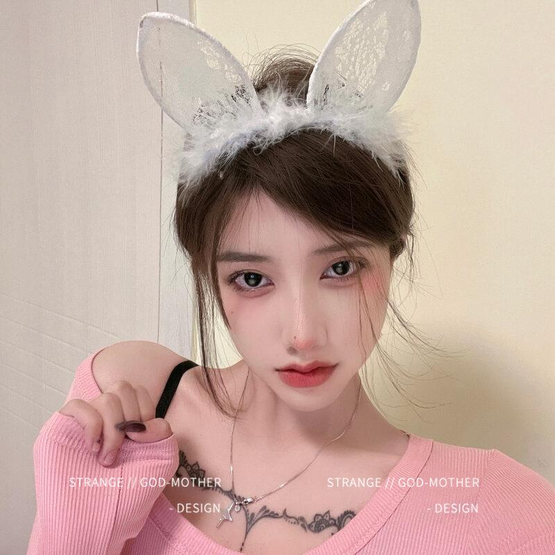 Diadema con orejas de gato en blanco y negro para mujer, tocado Sexy japonés con Orejas de conejo, accesorios para el cabello con ancla