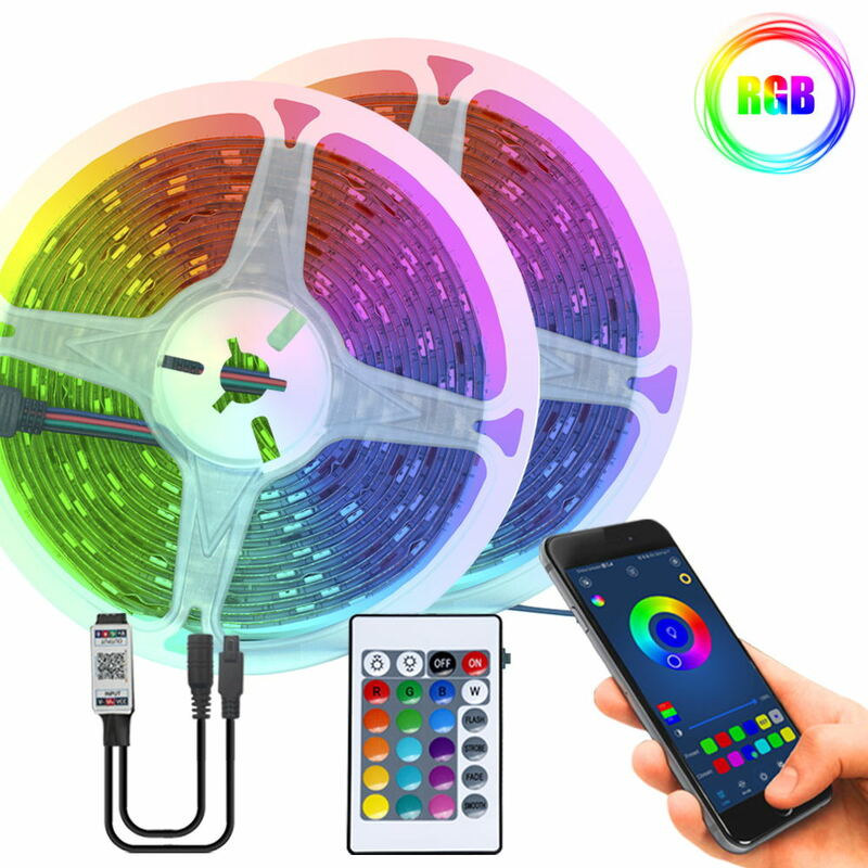 Luces LED RGB tiras de luz Led, SMD 2835, resistente al agua, CC de 12V, 5M, 10M, 15M, cinta Flexible de diodos, WIFI, sincronización de música, Luces Led con control remoto