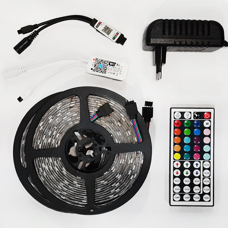 LED SMD2835 LED 스트립 조명 블루투스 와이파이 Luces5M10M15M RGB 5050 유연한 방수 테이프 다이오드 DC12V 원격 제어 조명