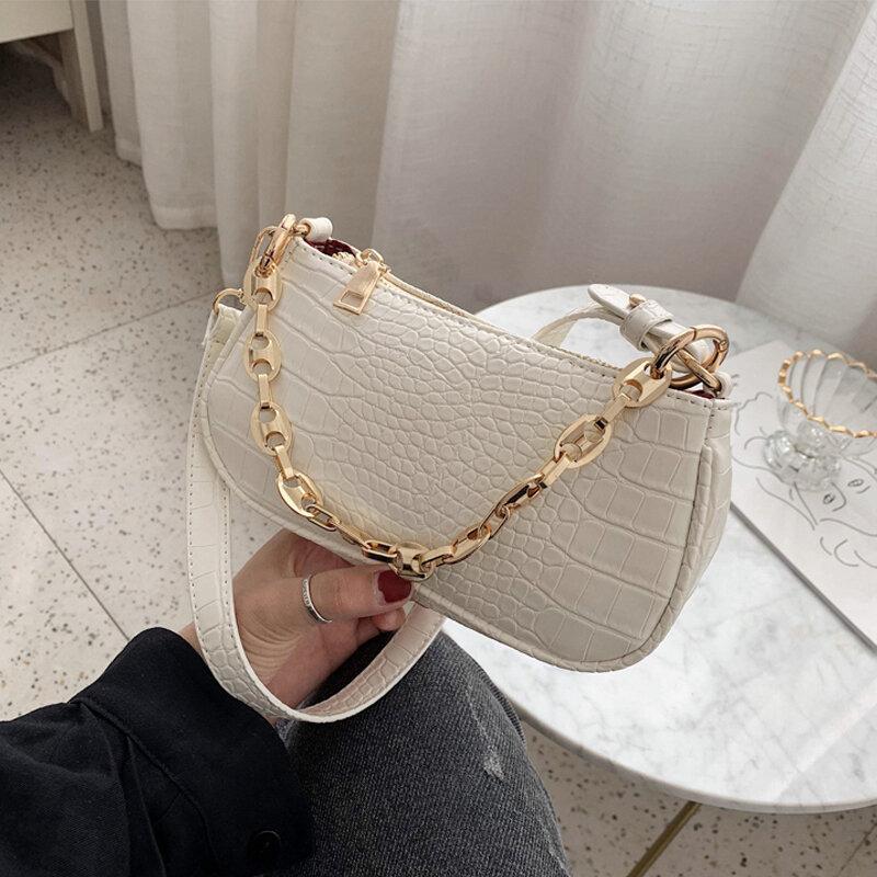 Fashion Baguette bags MINI Crocodile Pattern PU Leather Shoulder Bags For Women Chain Designer Luxury Handbag Female Travel tote