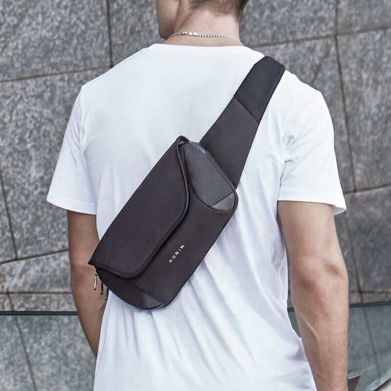 Kingsons NEW Multifunction Anti-cut Inclined Shoulder Bag Waterproof Sling Chest Bag Anti-theft Messenger Crossbody Cut proof