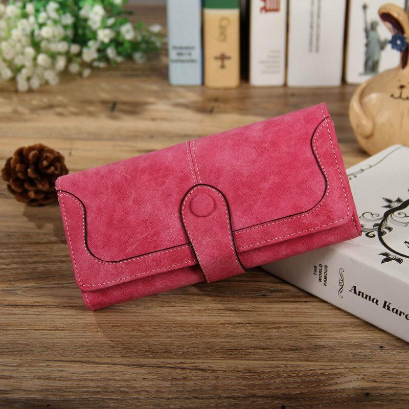 Frauen Retro Lange Brieftasche Faux Wildleder Leder Frauen Lange Geldbörse Kupplung Handtasche Weibliche Casual Haspe Karte Halter carteira de mujer