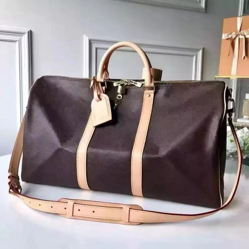 클래식 플라워 타입 남성용 가죽 여행 가방, 휴대용 대용량 여행용 원 숄더 수하물 가방-B2139