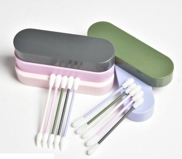 2 teile/schachtel Doppel Kopf Wiederverwendbaren Baumwolle Tupfer Tragbare Ohr Reinigung Silikon Tupfer Waschbar Baumwolle Knospen Kosmetische Reinigung Werkzeug